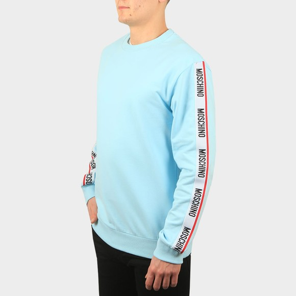 Moschino Mens Blue Tape Crew Sweatshirt