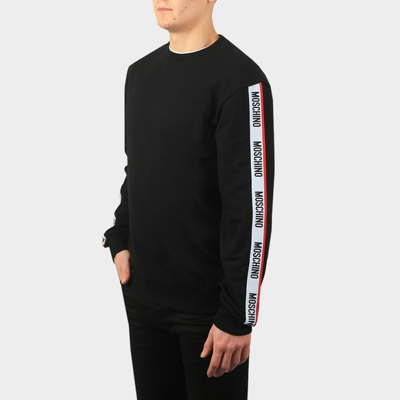Moschino Mens Black Tape Crew Sweatshirt