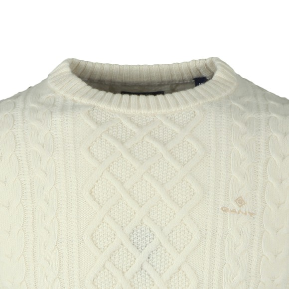 Gant Mens White Aran Cable Jumper