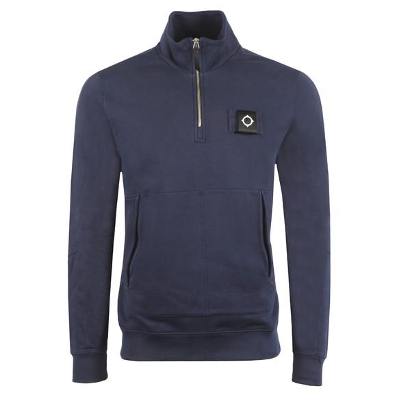 Ma.Strum Mens Blue Training Quarter Zip Sweatshirt