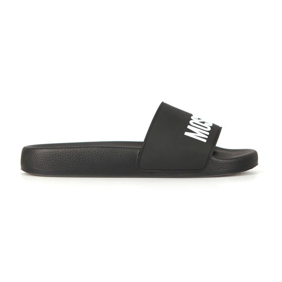Love Moschino Womens Black Large Logo Slide