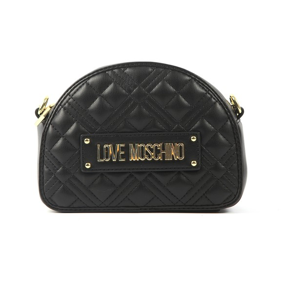 Love Moschino Womens Black Cross Quilted Small Round Bag