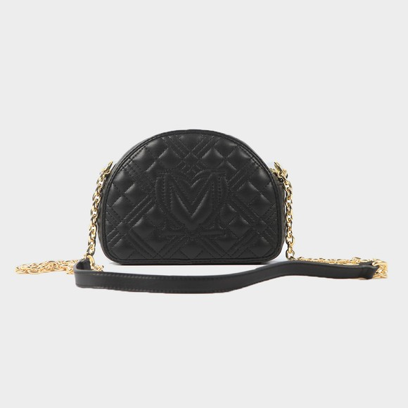 Love Moschino Womens Black Cross Quilted Small Round Bag main image