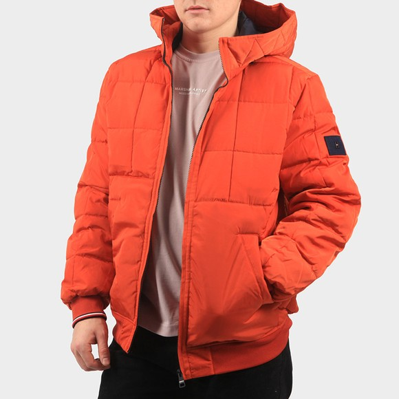 Tommy Hilfiger Mens Orange Rope Dye Hooded Bomber