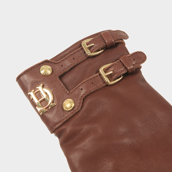 Holland Cooper Womens Brown Monogram Leather Glove