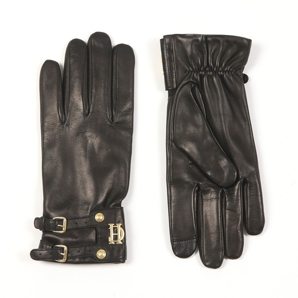 Holland Cooper Womens Black Monogram Leather Glove