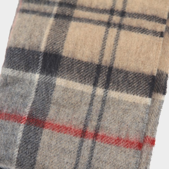 Barbour Lifestyle Mens Beige Tartan Lambswool and Cashmere Scarf