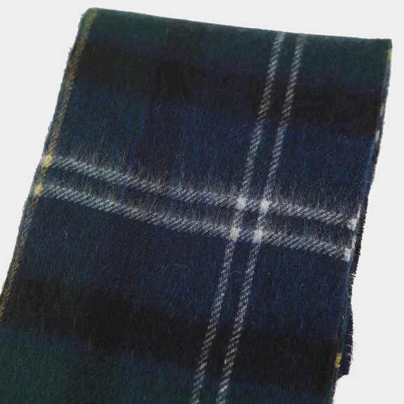 Barbour Lifestyle Mens Green Tartan Lambswool and Cashmere Scarf main image