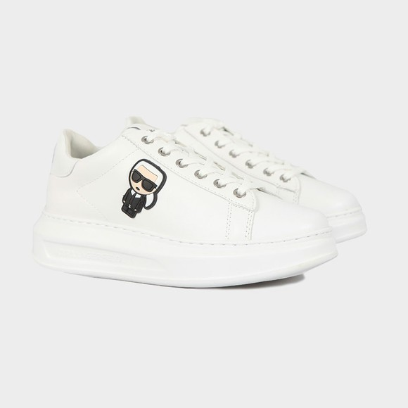 Karl Lagerfeld Womens White Kapri Karl Ikonic Trainer