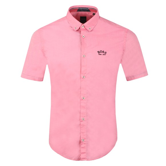 BOSS Mens Pink Athleisure Biada Curved Logo Shirt