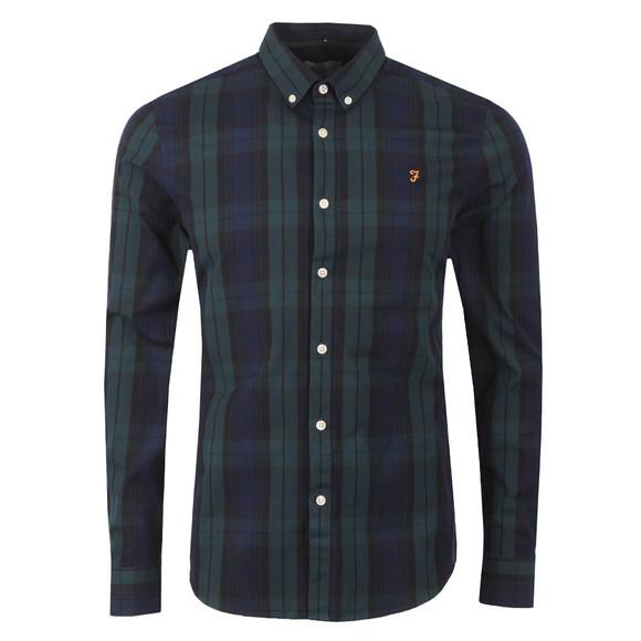 Farah Mens Green Brewer Tartan Slim Shirt