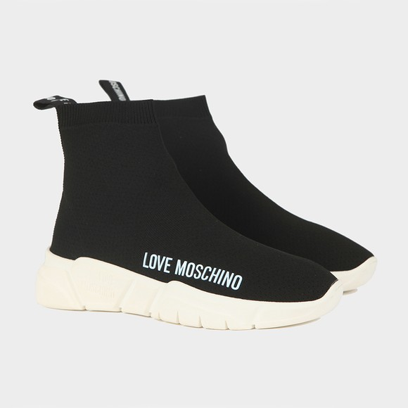 Love Moschino Womens Black Sock Runner