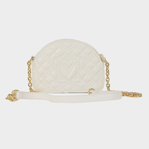Love Moschino Womens White Cross Quilted Small Round Bag