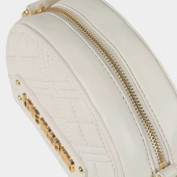 Love Moschino Womens White Cross Quilted Small Round Bag main image