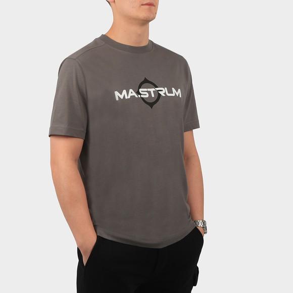 Ma.Strum Mens Grey Logo Print T Shirt