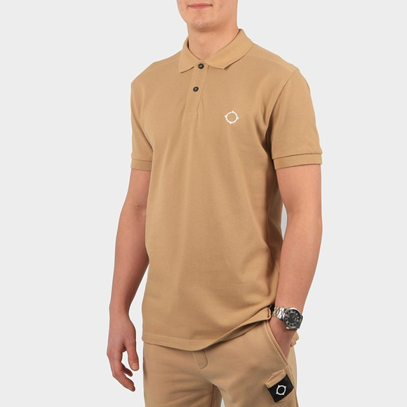 Ma.Strum Mens Beige Core Pique Polo Shirt