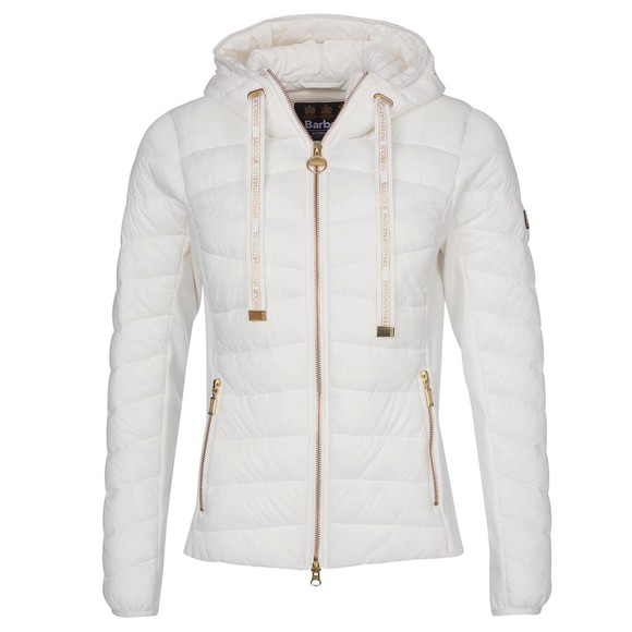 Barbour International Womens White Grid Quilt