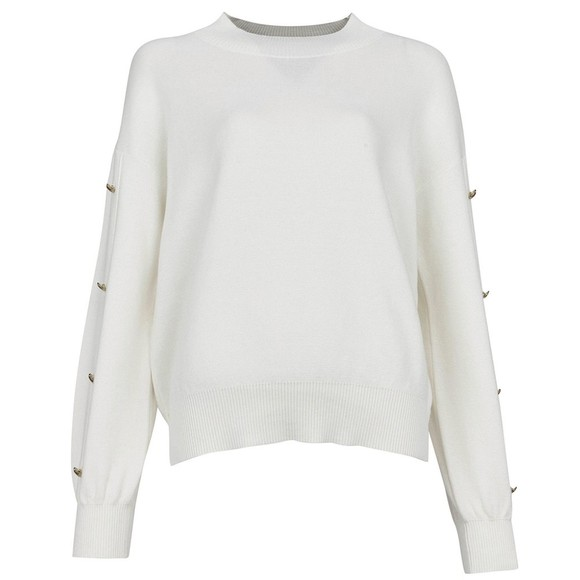 Barbour International Womens Off-White Drifting Knit Jumper