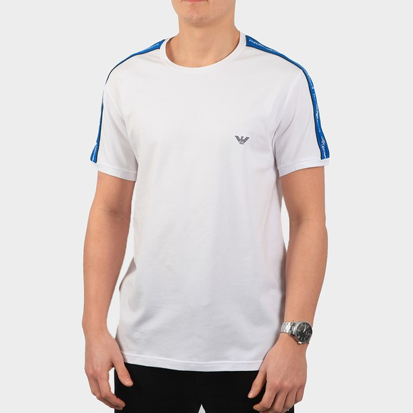 Emporio Armani Mens White Tape Logo Stretch T Shirt