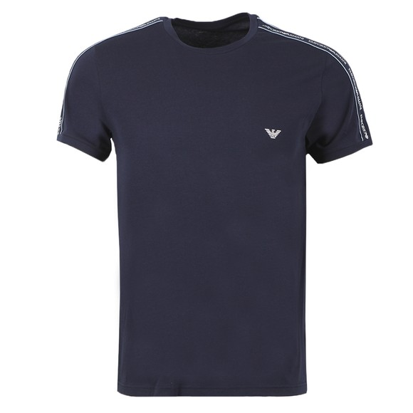 Emporio Armani Mens Blue Tape Logo Stretch T Shirt