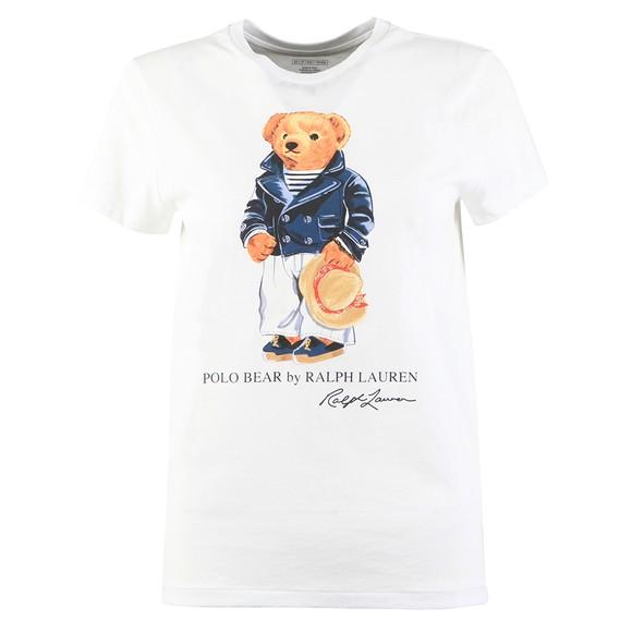 Polo Bear By Ralph Lauren Womens White Marine Bear Logo T Shirt