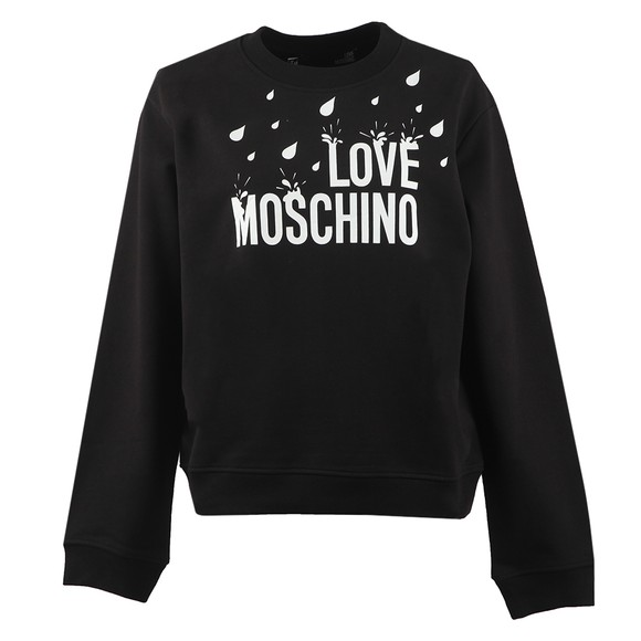Love Moschino Womens Black Drip Logo Sweatshirt