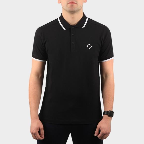 Ma.Strum Mens Black Jersey Polo Shirt