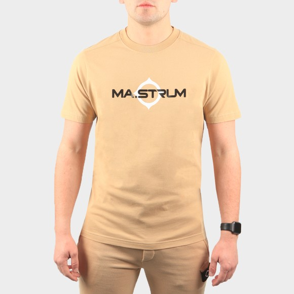 Ma.Strum Mens Beige Logo Print T Shirt
