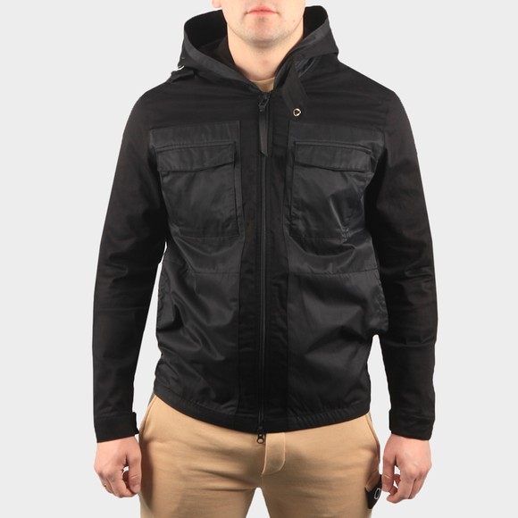 Ma.Strum Mens Black Hooded Panel Overshirt
