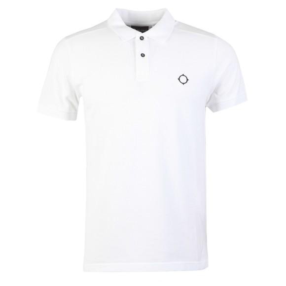 Ma.Strum Mens White Core Pique Polo Shirt