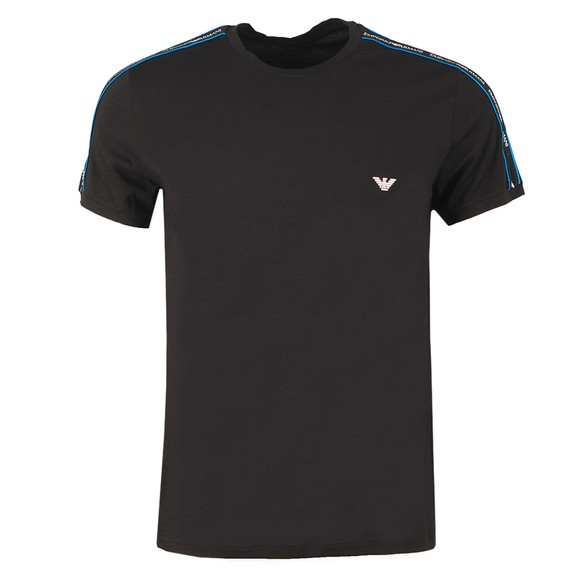 Emporio Armani Mens Black Tape Logo Stretch T Shirt