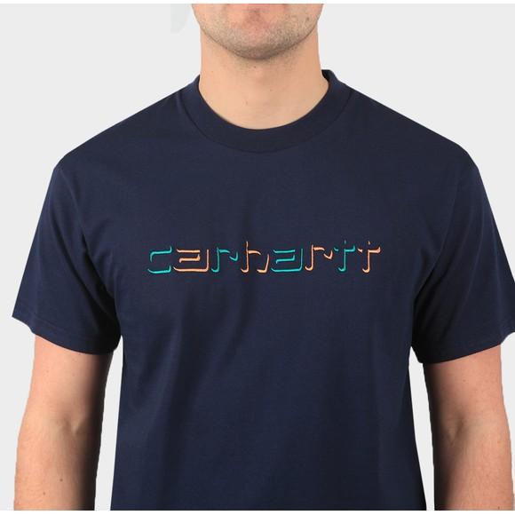 Carhartt WIP Mens Blue Shadow Script T-Shirt main image