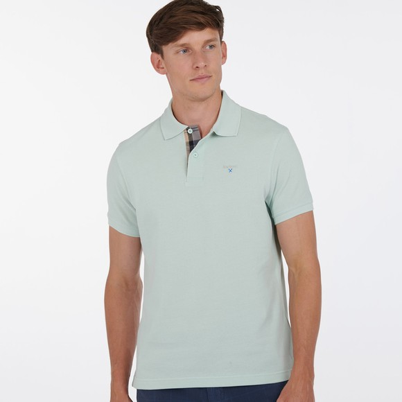 Barbour Lifestyle Mens Green Tartan Pique Polo Shirt
