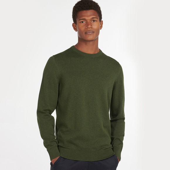 Barbour Lifestyle Mens Green Pima Cotton Crew Jumper