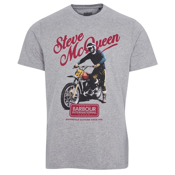 Barbour Int. Steve McQueen Mens Grey Enduro T-Shirt