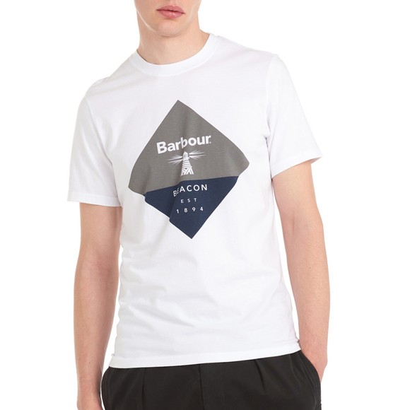 Barbour Beacon Mens White Diamond T-Shirt