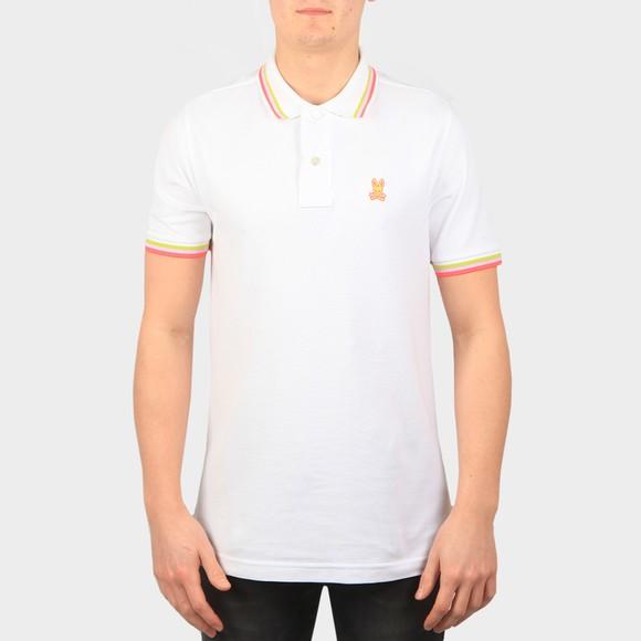 Psycho Bunny Mens White Kilburn Neon Polo Shirt