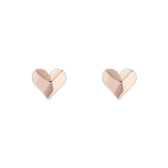 Ted Baker Womens Pink Felisi Faceted Heart Stud