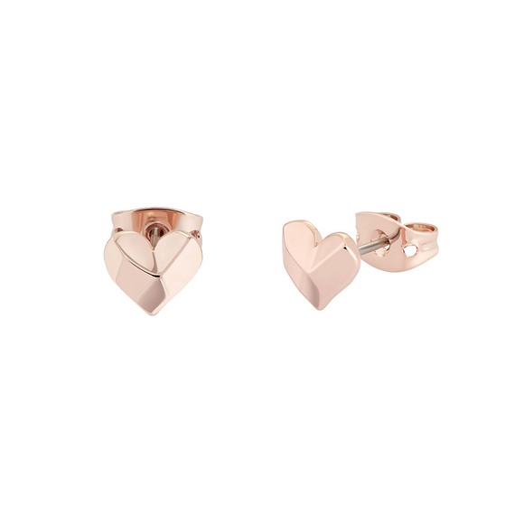 Ted Baker Womens Pink Felisi Faceted Heart Stud main image