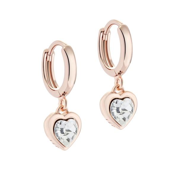 Ted Baker Womens Pink Hanniy Crystal Heart Huggie Earring