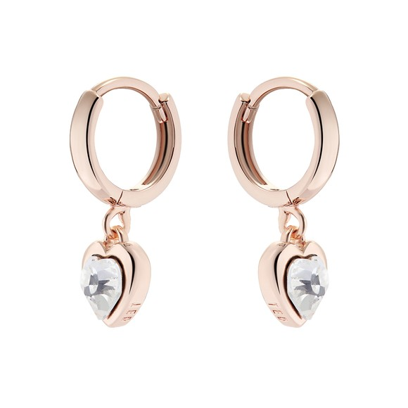 Ted Baker Womens Pink Hanniy Crystal Heart Huggie Earring main image