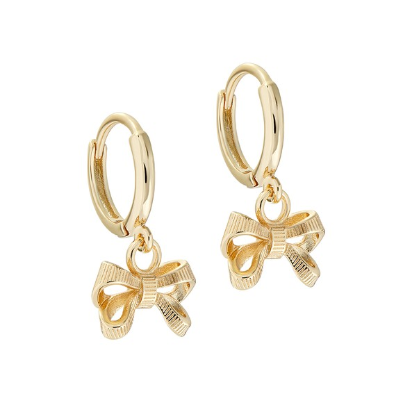 Ted Baker Womens Gold Perrie Bow Huggie Earring