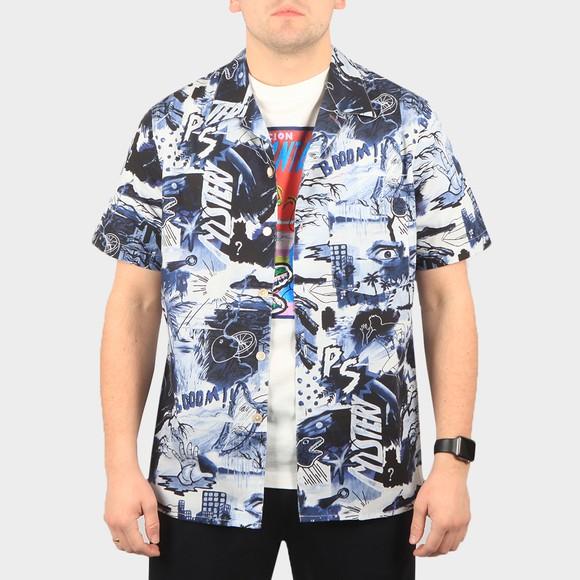 PS Paul Smith Mens Blue Pulp Print SS Shirt