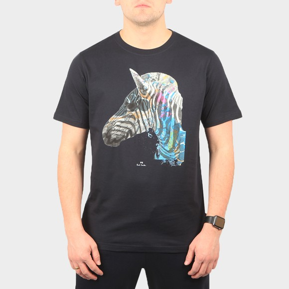 PS Paul Smith Mens Blue Graffiti Zebra T-Shirt