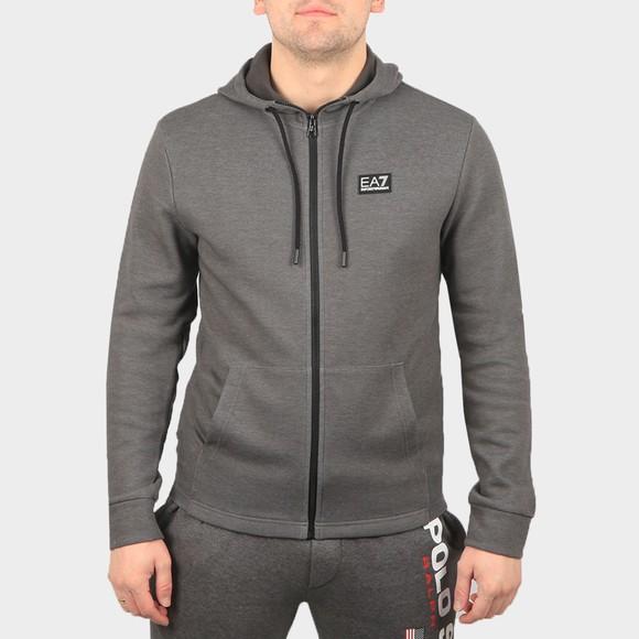 EA7 Emporio Armani Mens Grey Small Logo Full Zip Hoody