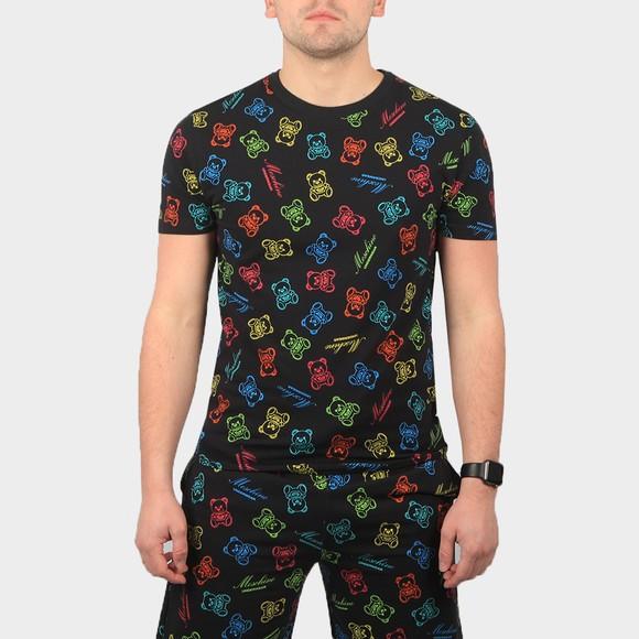 Moschino Mens Black Allover Rainbow Bear T Shirt