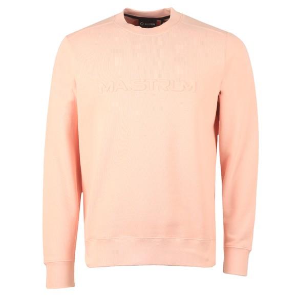 Ma.Strum Mens Pink Embossed Logo Crew Sweatshirt