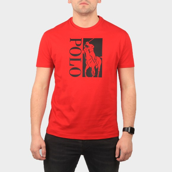 Polo Ralph Lauren Mens Red Classic Fit Big Pony T Shirt