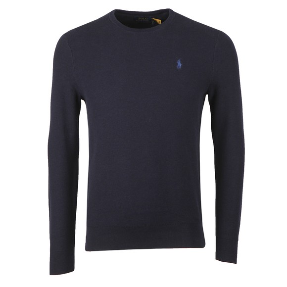 Polo Ralph Lauren Mens Blue Waffle Crew Neck Sweatshirt