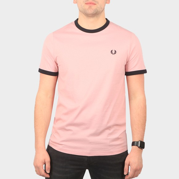 Fred Perry Mens Pink Ringer T-Shirt